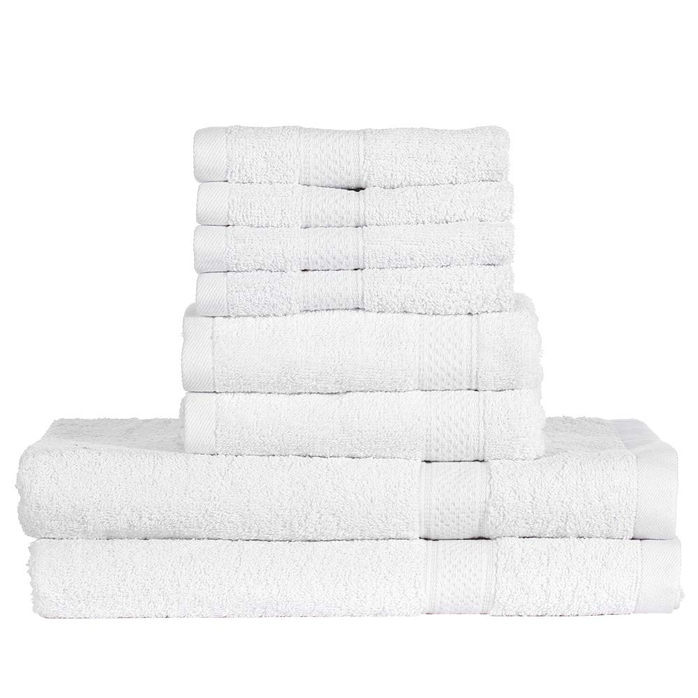 Htovila 8-Piece Cotton Towel Set 4 Washcloths + 2 Bath Towels + 2 Hand Towels Soft Breathable Absorbent Face Body Bath Towel Set for Bathroom Home Hotel-White