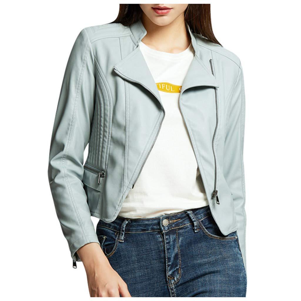 Redacel Women's Short Slim Slant Zip Faux Leather Moto Jacket Colors Leather Jacket(L,Blue) by Redacel