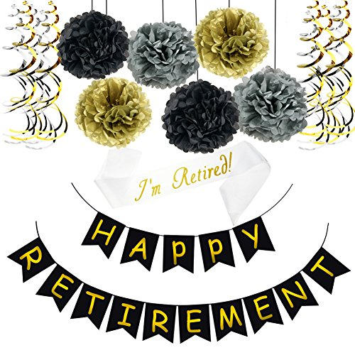 Happy Retirement Banner Bunting, Retired Sash, Paper Pom Poms, Foil Swirls Ideal for Retirement Party Supplies Favors Gifts and Decorations