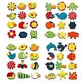 totam Colored Wooden Cartoon or Nature Theme Fridge Magnets ( Set of 48 Random Magnets )