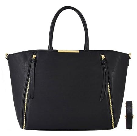 7b1ecbf79038 CRAZYCHIC - Women s Large Size Tote Bag - Faux Leather Zipper Trapez  Shopper - Lady Girl