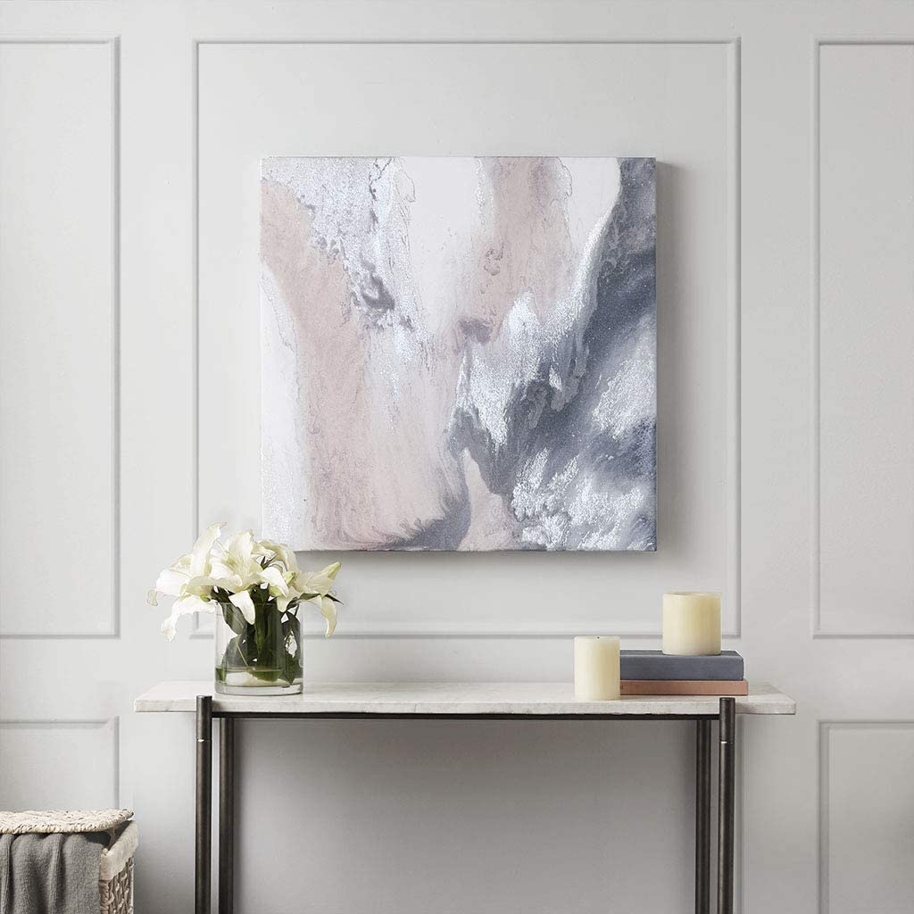 Amazon Com Madison Park Blissful Abstract Wall Art Modern Home Decor Painting Gel Coat Canvas With Silver Foil Embellishment See Below Blush Wall Art