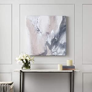 Madison Park Blissful Abstract Wall Art Modern Home Décor Painting Gel Coat Canvas with Silver Foil Embellishment, Blush