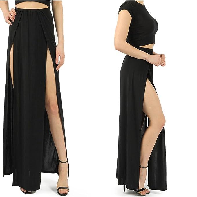 Duanmei Falda Sexy Moda Negro/Rosa Falda Maxi Cintura Alta Raja Lateral Split Falda Larga para Fiesta, Club, Ropa de Playa, También para la Celebración, ...