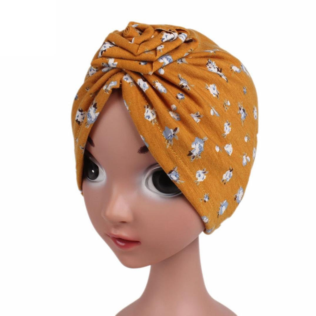vmree Toddler Warm Cap, Kids Girl Boho Hat Beanie Scarf Turban Head Wrap Caps(3-8T) (Yellow)