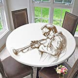 """Mikihome Round Table Tablecloth Jazz Man Playing Trumpet with a Pose Sketch Style Solo Showative Art Brown White for Wedding Restaurant Party 63""""-67"""" Round (Elastic Edge)"""