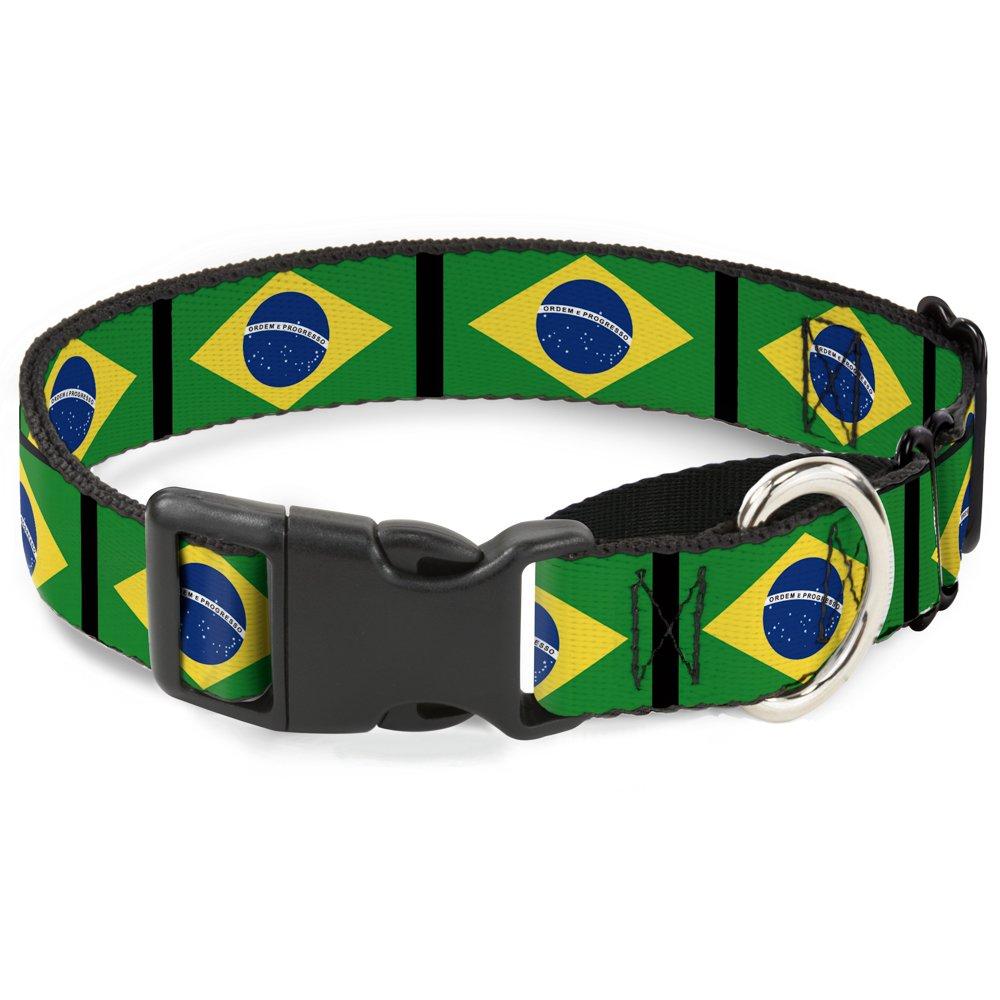 Buckle-Down Brazil Flags Martingale Dog Collar, 1  Wide-Fits 15-26  Neck-Large