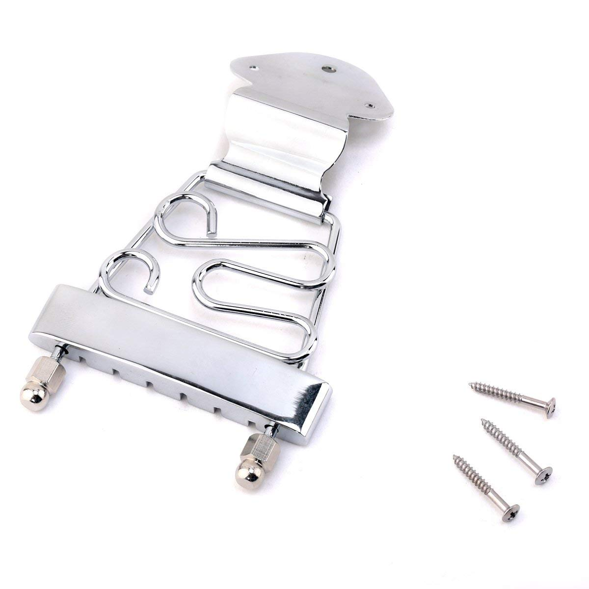 Musiclily Metal Trapeze Tailpiece For 6 String Electric Guitar Parts, Chrome MX1050CR