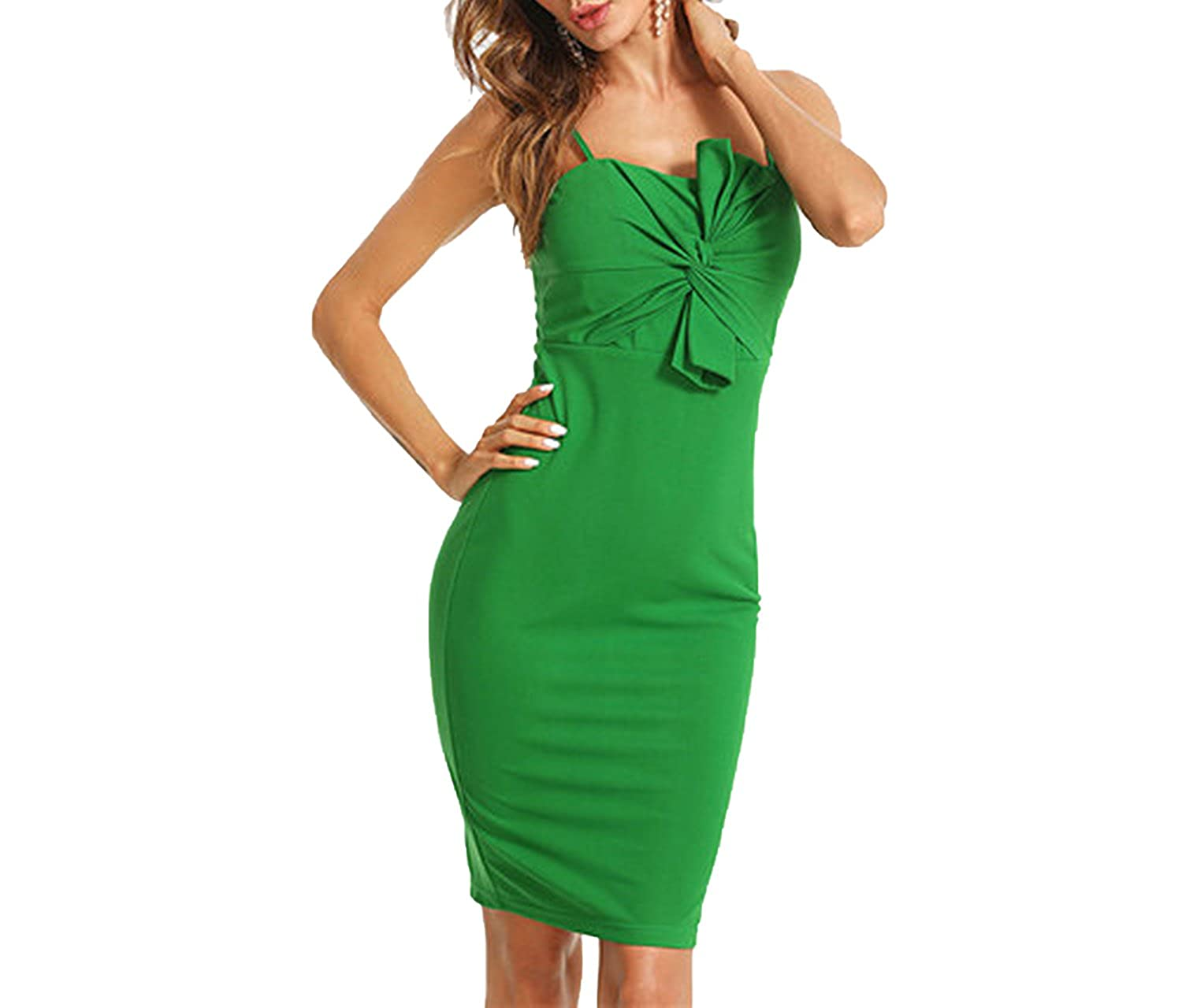 9ee3ed530072 world-palm Twist Front Form Fitting Slit Summer Dress Green Sleeveless Party  Dress Knot Dress at Amazon Women s Clothing store