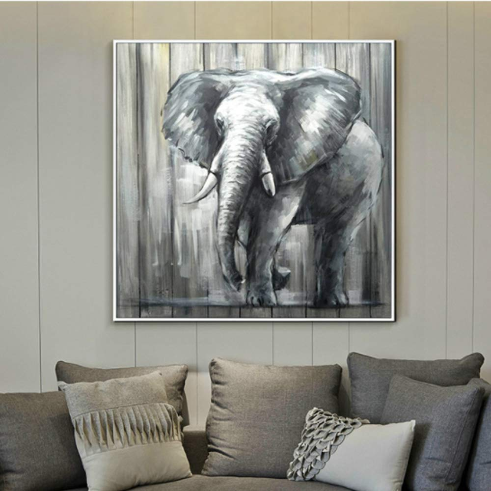 Modern Simple Hand Painted Oil Painting On Canvas Wall Art for Wall Decor Elephant Pattern Hang On Living Room Bedroom Kitchen Office Hotel Dinning Room Bar