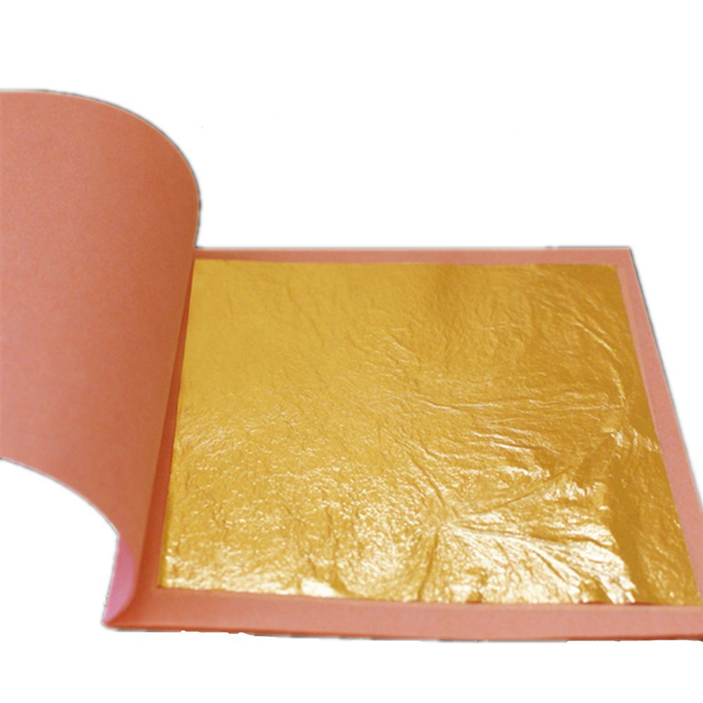 Gold Leaf Sheets 24-3.1 inches - 25 Sheets Booklet - Loose Leaf 24 Karat Edible Gold Leaf (25 Transfer Sheets Gold Leaf per Book) 3.15 in x 3.15in Transfer by TUYOU