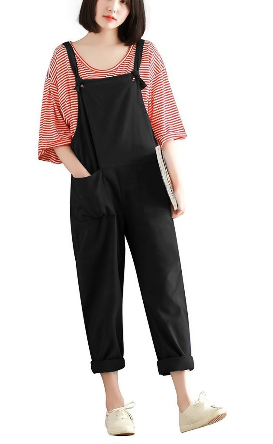 Hulaha Womens Cotton Plus Size Overalls Baggy Bibs Jumpsuits ,Black,US Small/Tag M