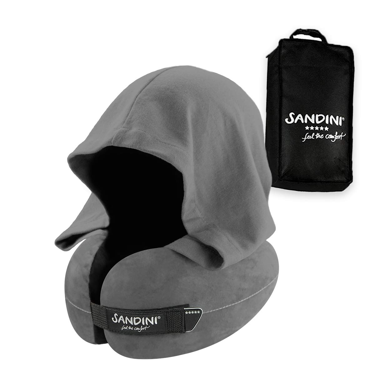 SANDINI TravelFix Hoodie - Premium Ergonomic Travel Pillow from Germany - Real Support for The Head and Neck - Hood for Darkening and Privacy - Machine Washable by SANDINI