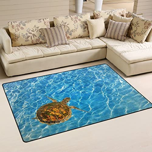 WOZO Ocean Sea Animal Turtle Area Rug Rugs Non-Slip Floor Mat Doormats Living Dining Room Bedroom Dorm 60 x 39 inches inches Home Decor