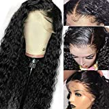 Younsolo Brazilian Deep Wave Lace Front Wigs for Black Women Glueless Pre Plucked Virgin Remy Human Hair Deep Wave Wigs with Baby Hair 16 inch Lace Front Wig