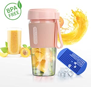 Portable Juicer Blender, USB Rechargeable Small Single Serve Fruit Mixer for Shakes and Baby Food(Pink)