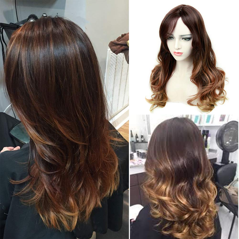 Lady Miranda 3 Tone Ombre Wig Black to Brown Blonde Middle Part High Density Heat Resistant Synthetic Hair Weave Full Wigs For Women (Black& Brown& Blonde)