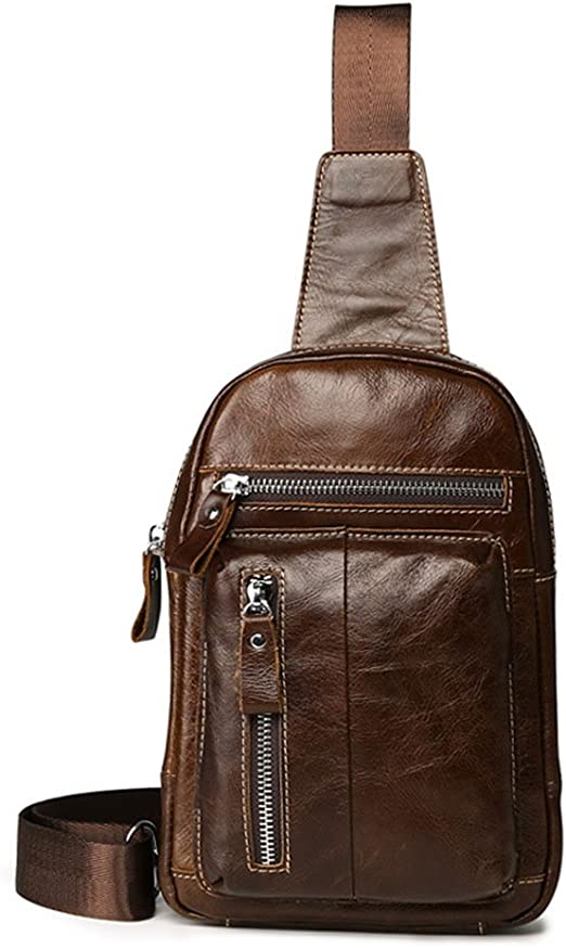 Men Genuine Leather Travel Messenger Shoulder Sling Back pack Chest Rivets Bag