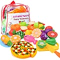 Kimicare Kitchen Toys Fun Cutting Fruits Vegetables Pretend Food Playset for Children Girls Boys Educational Early Age Basic Skills Development 24pcs Set
