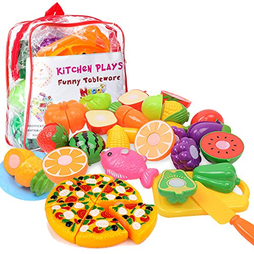 Fruit Plastic Toy Food - Kimicare Kitchen Toys Fun Cutting Fruits Vegetables Pretend Food Playset for Children Girls Boys Educational Early Age Basic Skills Development 24pcs Set, Multicolors