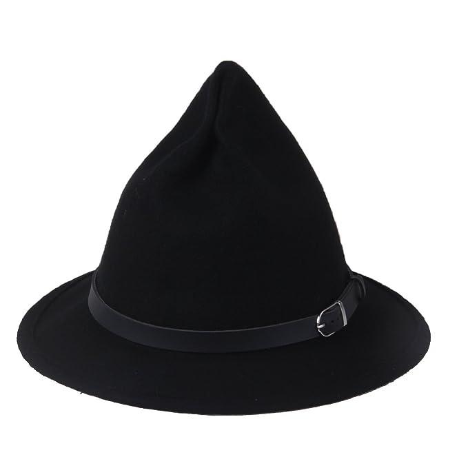 Prefe Women s 100% Wool Belt Fedora Witch Hat Halloween Costume Accessory  (Black) 9decba21816
