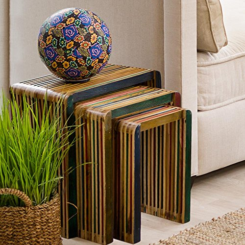 Vivaterra Tea-Stained Recycled Teak Nesting Tables - Set of 3 - Large measures 17.5 W x 12 D x 20 H by Vivaterra