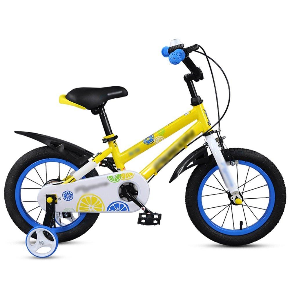 HAIZHEN マウンテンバイク 子供用自転車ベビーカー14/16インチマウンテンバイクレッドイエロー調節可能ハンドルバーシート 新生児 B07C6QHMYG 14 inches|イエロー いえろ゜ イエロー いえろ゜ 14 inches
