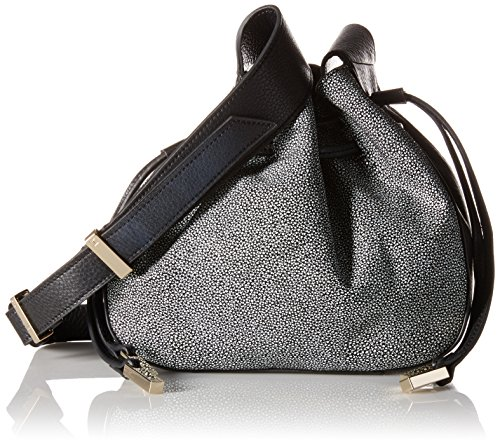 Halston Heritage Medium Drawstring Leather Handbag - Blac...