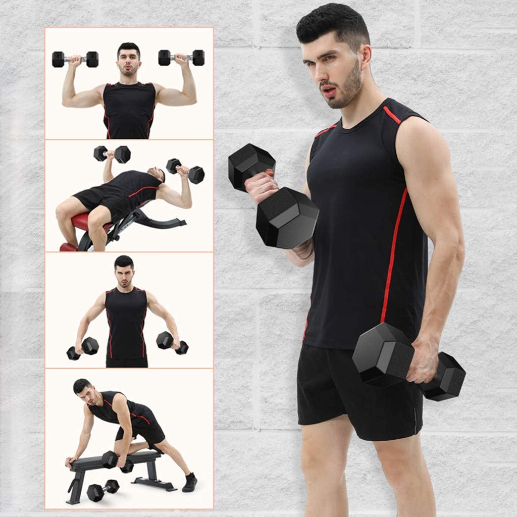 Fine Dumbbells 5lb, 10lb, 20 Lb, 30lb, 50lb Press Deluxe Vinyl Coated Hand Weights All-Purpose Color Coded Dumbbell for Strength Training Lifts,Squats
