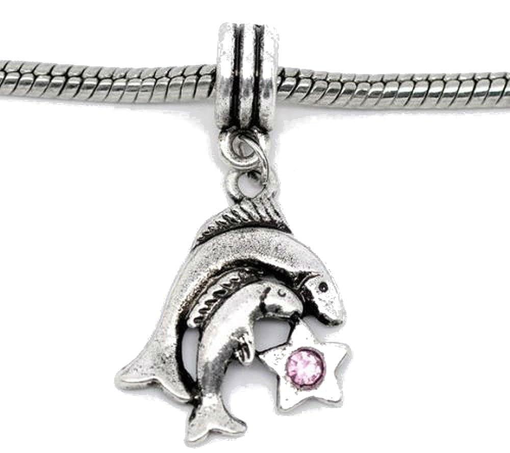 Buckets of Beads Pink Rhinestone Pisces Zodiac Dangle Charm Fits Most Major Charm Bracelets For Women Girls