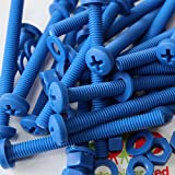20 x Blue Philips Pan Head Screws Polypropylene (PP) Plastic Nuts and Bolts, Washers, M6 x 60mm, Acrylic, Water Resistant, Anti-Corrosion, Chemical Resistant, Electrical Insulator, Strong.