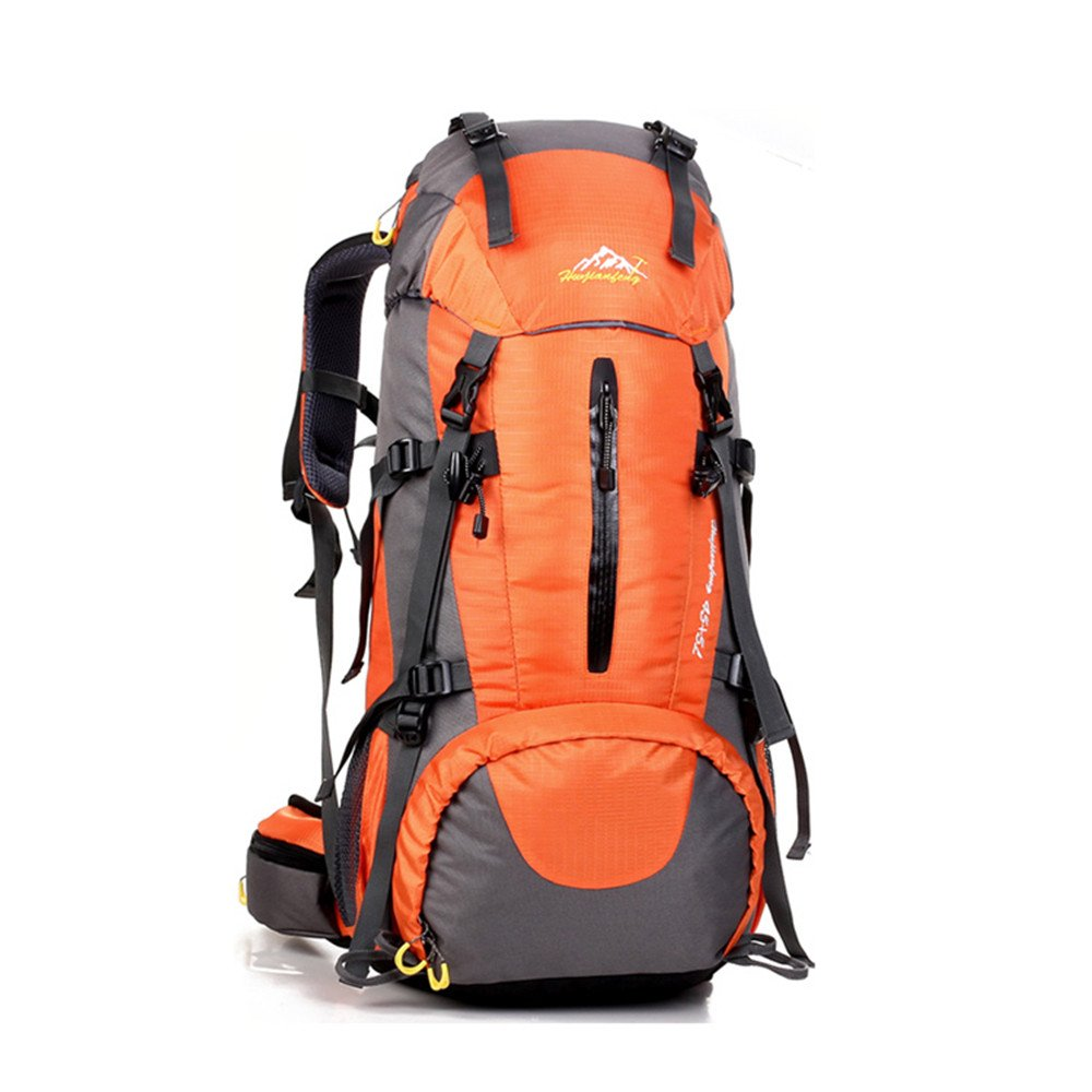 OCCIENTEC ハイキングバックパック 50L 軽量 旅行用デイパック 防水 雨用カバー アウトドア 登山 キャンプ 登山用 B07CWPKDT1 オレンジ