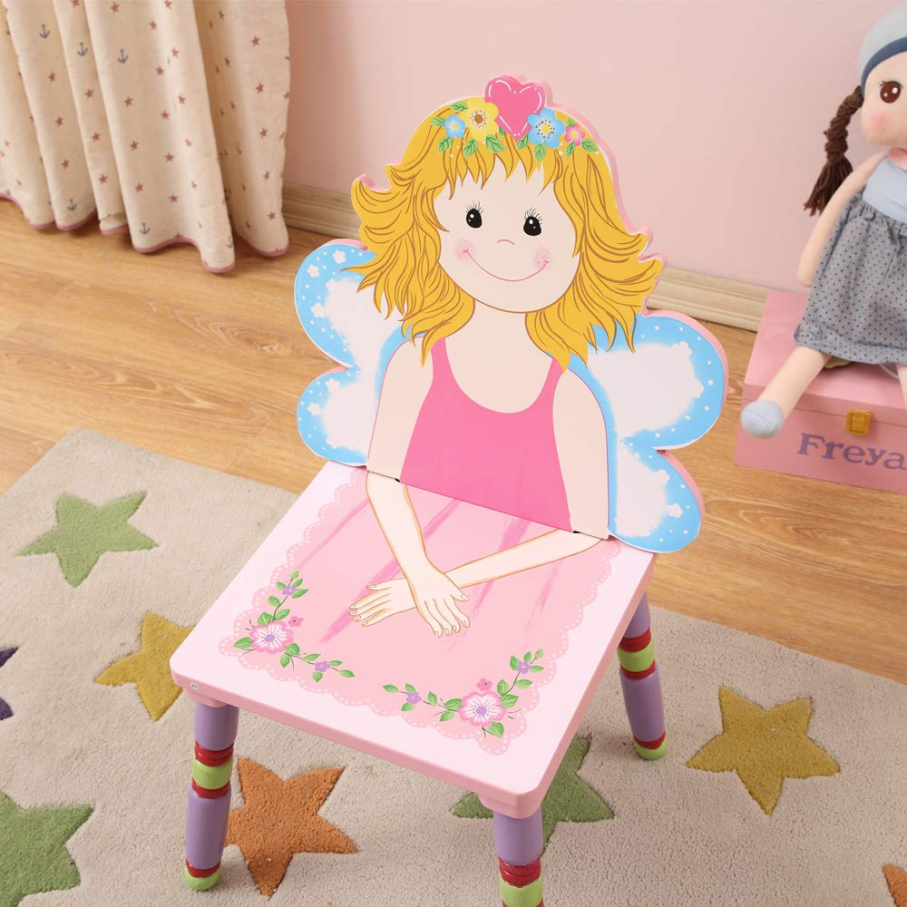 Pink Children Desk and Chair Sets Pink with Cartoon Fairies Paintings for Girls Toddlers WODENY Kids Table and Chairs Sets Girls Wooden Children Table and Chair Set