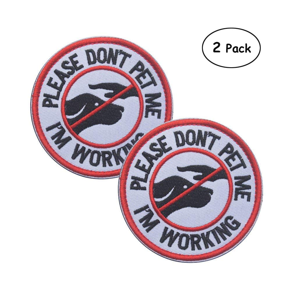 (R-Don't pet me) Ultrafun Service Dog Hook & Loop Fastening Tape Patch Pet Harness Vest 2 X 3 Inches Set of 2 (R-Don't pet me)