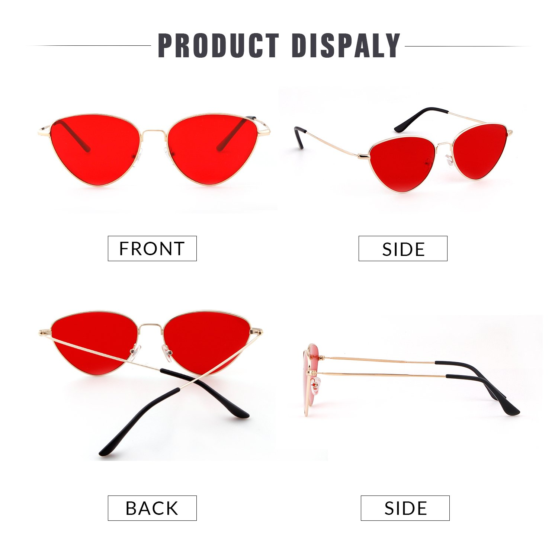 ADEWU Occhiali da sole metallizzati con lenti colorate ovali Cat Eye per ragazze