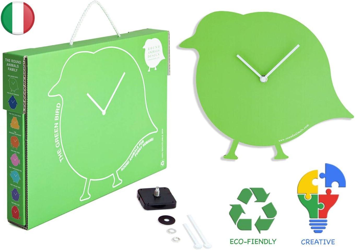 El Pajaro Verde. Reloj Pajaro de pared para niños y maleta carton, relojes de pared originales Verde, Decoracion pared para niños en carton reciclado, Ideas regalo divertido para niños