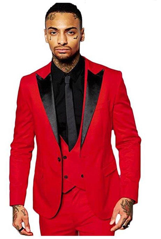 Yanlu Men's Slim Fit 3 Piece Black Lapel Dress Suits Prom Wedding Suit Set