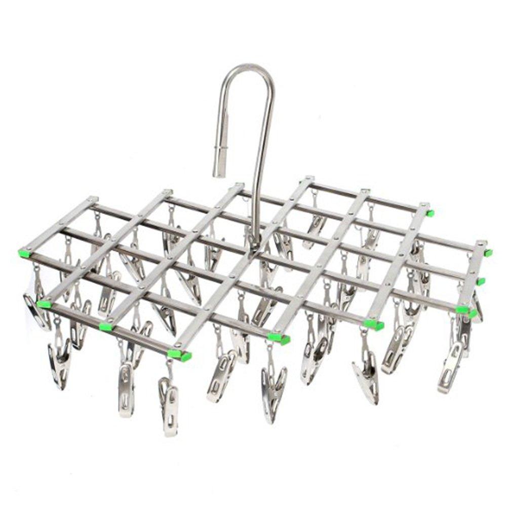ENKOUS Swivel Hook Stainless Steel 35 Pegs Drying Rack Clothes Hanger for Underwear Socks Gloves.