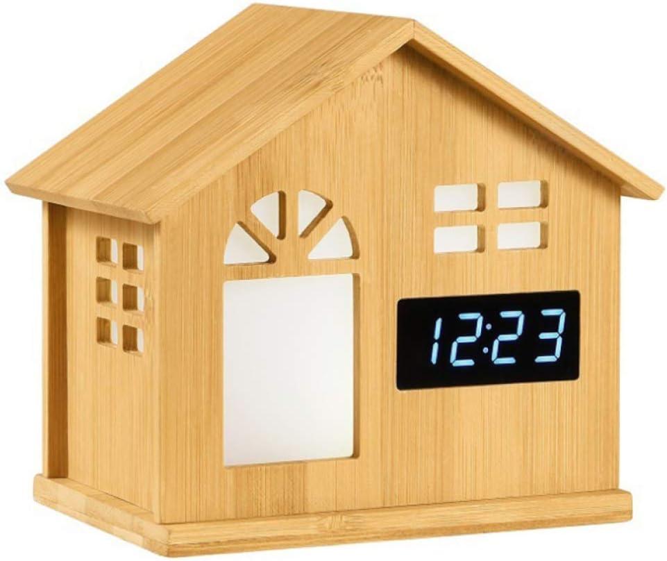 YQHWLKJ Nueva forma de casa Lámpara de escritorio Reloj de escritorio Romántico Ambiente creativo Luz nocturna Ambiente Luz Bamboo Craft Night Light