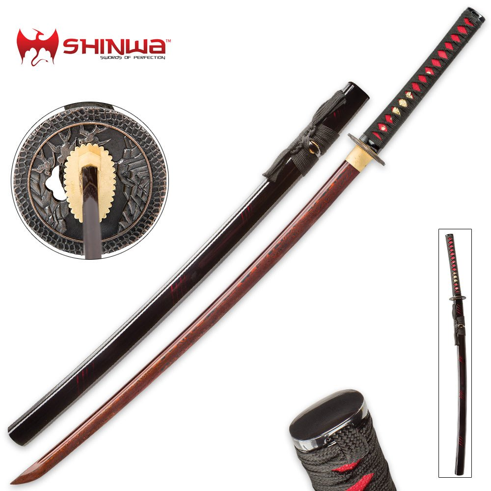 Shinwa Incendiary Handmade Katana / Samurai Sword - Exclusive Hand Forged Red & Black Damascus Steel - Genuine Ray Skin - Ornate Tsuba / Guard Design - Fully Functional, Battle Ready, Ninja Fierce by Shinwa