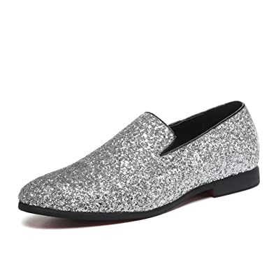 HUAN Men's Shoes Glitter Summer Fall Moccasin Loafers & Slip-ONS Sparkling  Glitter For Wedding
