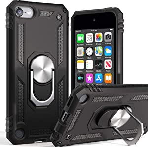 iPod Touch 7 Case,iPod Touch 6 Case with Car Mount,Cyberowl Hybrid Rugged Shockproof Cover with Built-in Kickstand for Apple iPod Touch 5 6 7th-Black