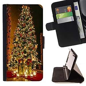 King Art - Premium-PU-Leder-Prima caja de la PU billetera de cuero con ranuras para tarjetas, efectivo Compartimiento desmontable y correa para la mu?eca FOR Sony Xperia Z3 D6653- Merry Christmas Tree Green Red Deer Snow Winer