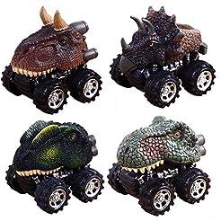 Pull Back Dinosaur Cars, Pawaca 4-Pack D...