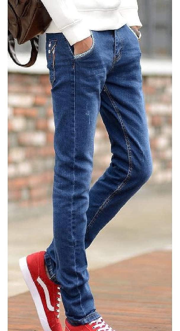Cromoncent Men Casual Slim Fit Washed Stretchy Straight Jeans Denim Pants
