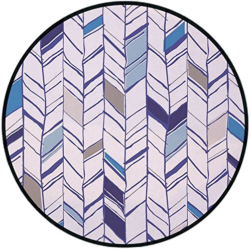 Line Select Shower Chair (Printing Round Rug,Navy,Tribal Zigzag Lines Pattern in Various Shades Geometric Boho Sketch Print Mat Non-Slip Soft Entrance Mat Door Floor Rug Area Rug For Chair Living Room,Sky Blue Grey Tan Pearl)
