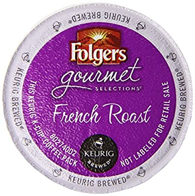 Folgers French Roast Coffee, Medium Dark Roast, K-Cup Pods for Keurig K-Cup Brewers, 12-Count (Pack of 6)