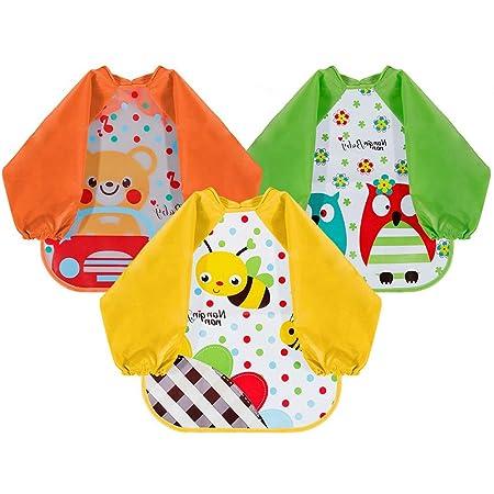 Baberos con mangas de goma EVA para bebé, babero para bebé, babero ...