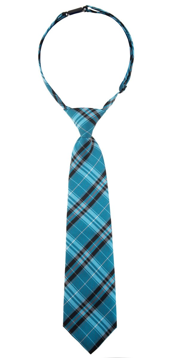 Retreez Stylish Plaid Checkered Woven Microfiber Pre-tied Boy's Tie - Turquoise and Black - 24 months - 4 years