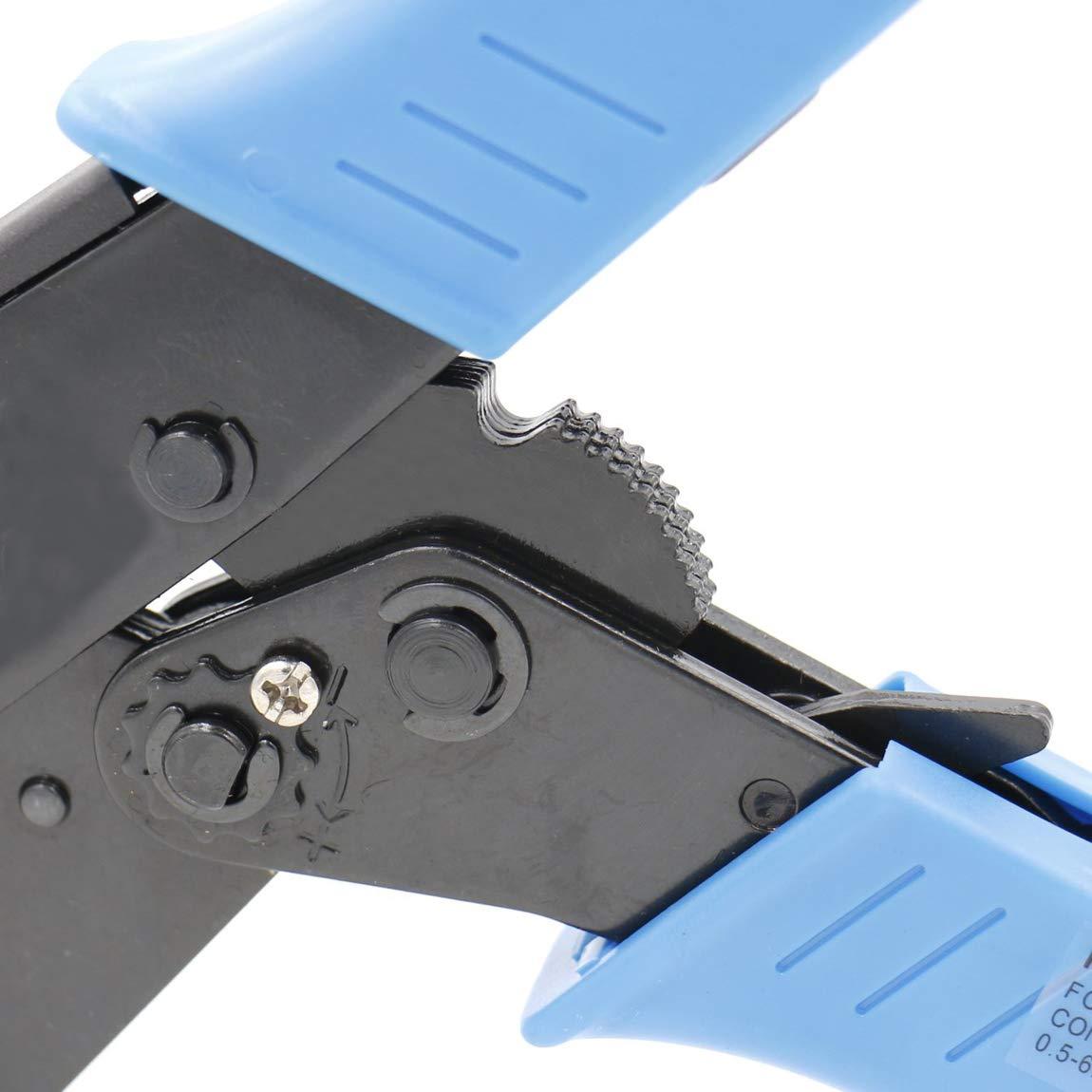 Bleu Heschen /à cliquet Pince /à sertir Pince Hs-30j c/âble isol/é Bornes /à sertir outils /à utiliser pour 1 2,5 20/–10/AWG 6/mm/²